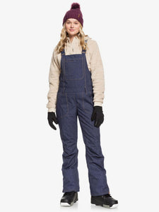 Roxy Women's Rideout Bib Snow Pant Mid Denim Main and front view