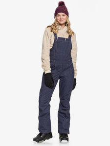 Roxy Women's Rideout Bib Snow Pant Mid Denim Full-body model view