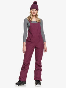 Roxy Women's Ride out Bib Snow Pant Grape Wine Model Front view