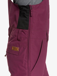 Roxy Women's Rideout Bib Snow Pant Grape Wine closeup front pocket view