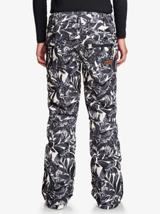 Roxy Women's Nadia Printed Snow Pant Hawaiian Palm Leaf Back view model