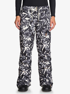 Roxy Women's Nadia Printed Snow Pant Hawaiian Palm Leaf Modeled Front and Main view