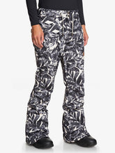 Roxy Women's Nadia Printed Snow Pant Hawaiian Palm Leaf Angled Side modeled view