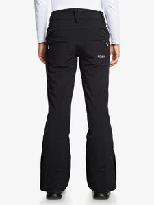 Roxy Women's Creek Short Snow Pant True black back view modeling