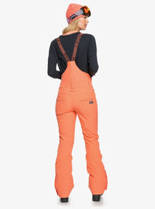 Roxy Women's Summit Snow Bib Pant Fusion Coral Full Body Back View