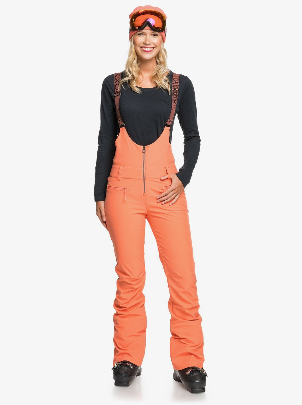 Roxy Women's Summit Snow Bib Pant Fusion Coral Front Main View