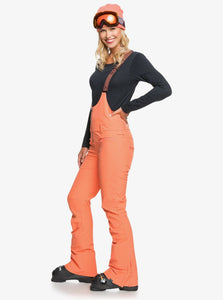 Roxy Women's Summit Snow Bib Pant Fusion Coral Angled Front View