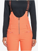 Roxy Women's Summit Snow Bib Pant Fusion Coral Front Close Up View