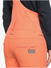 Roxy Women's Summit Snow Bib Pant Fusion Coral Back Pocket Close Up View