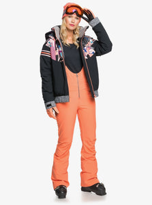 Roxy Women's Summit Snow Bib Pant Fusion Coral Full Body Front View