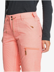 Roxy Women's Nadia Snow Pant Pink Coral Front Pocket Close Up