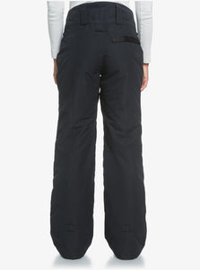 Roxy Women's Spiral Snow Pant True Black Full Back View