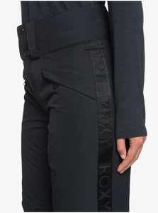 Roxy Women's Spiral Snow Pant True Black Front Pocket Close Up
