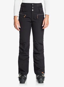 Roxy Women's Rising High Short Snow Pant True Black Front View