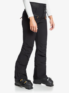 Roxy Women's Rising High Short Snow Pant True Black Side View Modeled