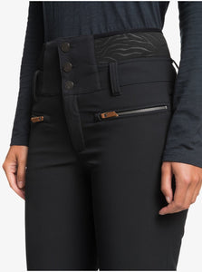 Roxy Women's Rising High Short Snow Pant True Black Front Close Up View