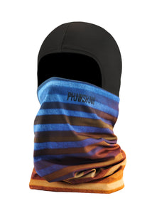 Function Double Layer Ballerclava Stripes Balaclava Face Mask Sunset Blue Orange Brown
