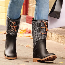 Kamik Abigail womans pull on waterproof winter fall spring rain snow boot black lifestyle shot