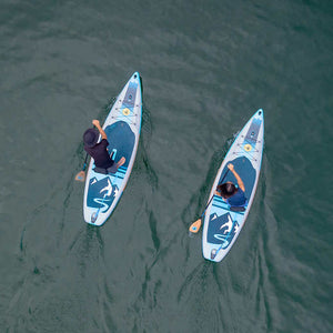 Top view paddleboards in action