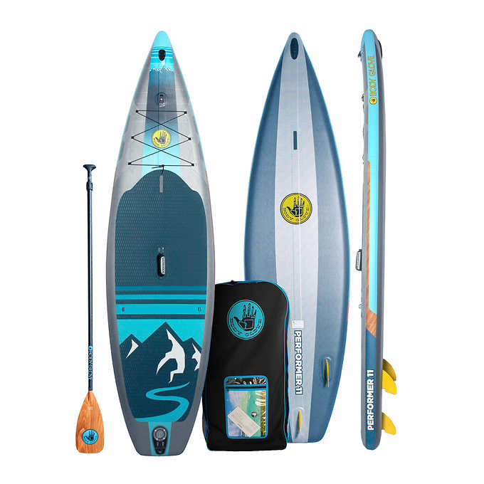 BodyGlove 11-feet performer inflatable stand up paddle board package with board bag paddle pump