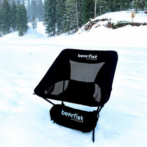 BearFist Outdoor lightweight backpacking camp chair black snow shot