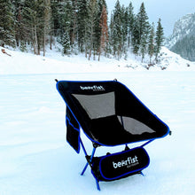 BearFist Outdoor 2 pound backpacking camp chair blue snow