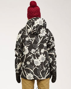 Billabong Women's Sula Snow Jacket Black Floral Back View