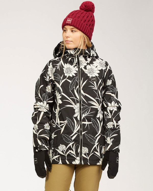 Billabong Women's Sula Snow Jacket Black Floral Front View