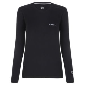 Le Bent Le Base 200 Crew Women's Baselayer Crewneck Top Black Front