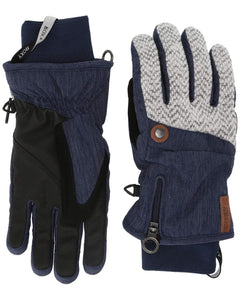 Roxy Women's Nymeria Ski and Snowboard Gloves Mid Denim Front and Back view