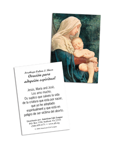 Fulton J. Sheen Spiritual Adoption Prayer Card (Spanish)
