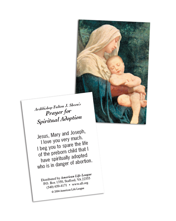 Fulton J. Sheen Spiritual Adoption Prayer Card