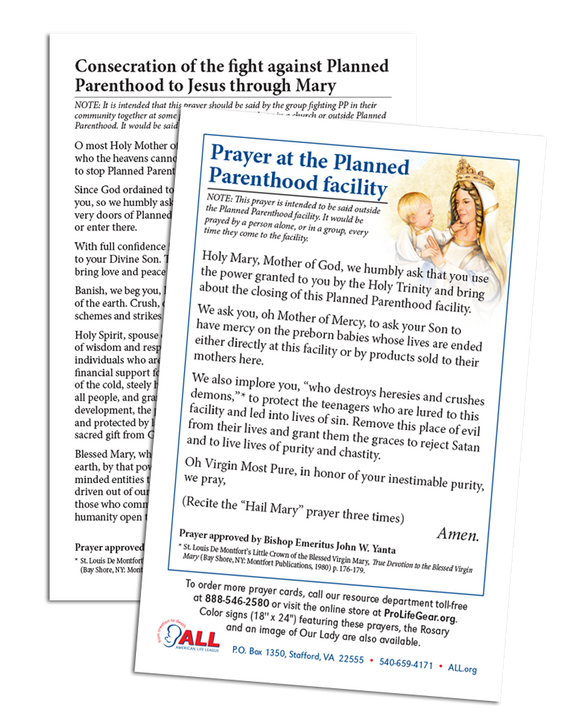 Stop Planned Parenthood Prayer Card