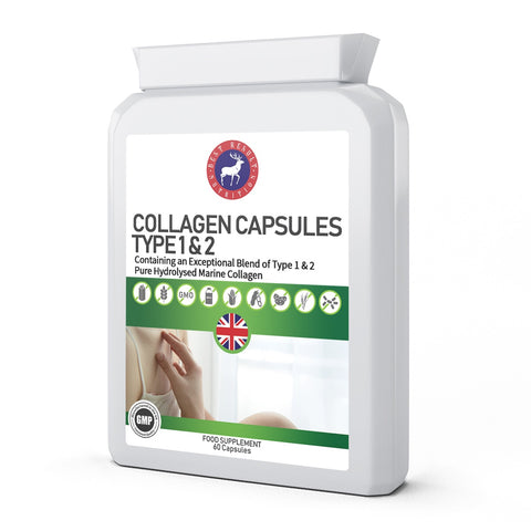 Collagen Capsules Type 1 & 2(Pure) 60 Capsules 600mg