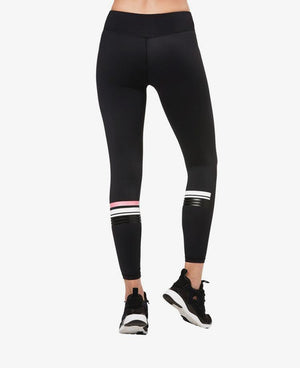 Stripe Ankle Length Leggings -Black