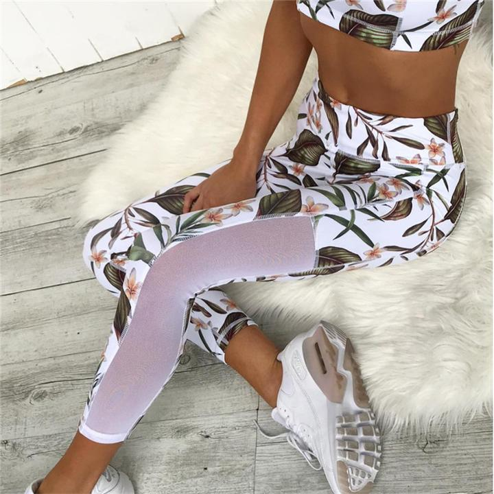 Mesh Floral Leaf Crop Top & Leggings Set