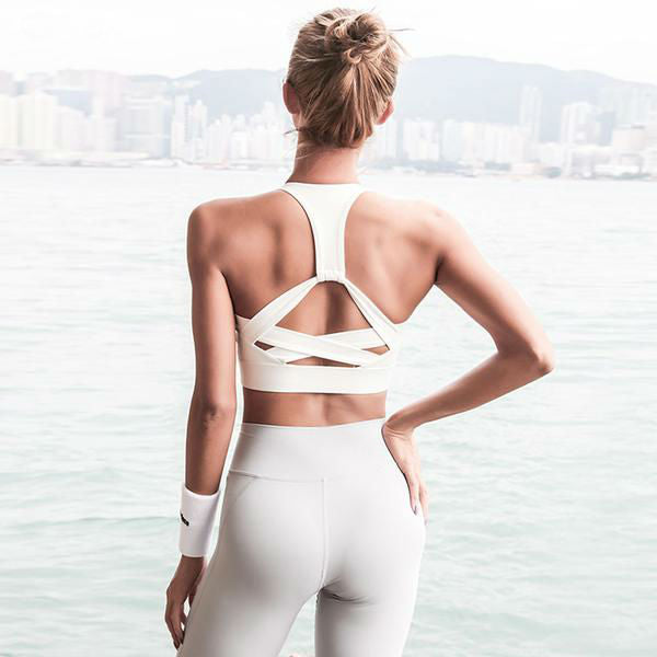 Woven Back Fitness Crop Top