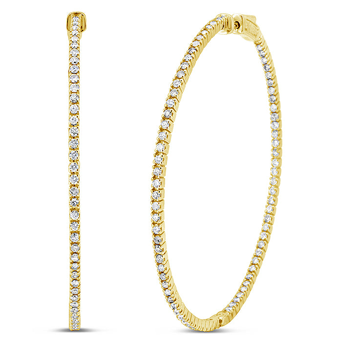 Thin Diamond Hoop Earrings - Pasha Fine Jewelry