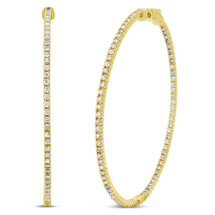 Inside Out Thin Diamond Hoops - Pasha Fine Jewelry