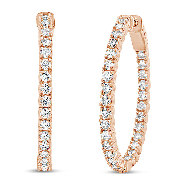 Large Inside-Out Diamond Hoops