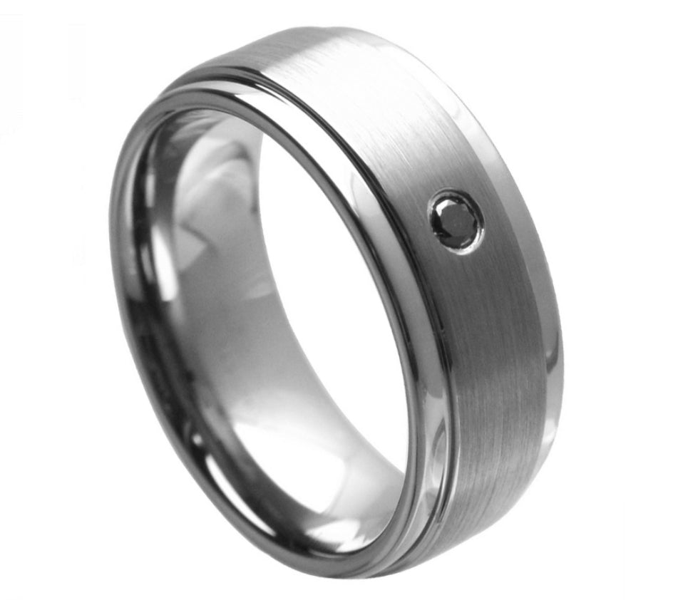 Tungsten with Black Diamond - Pasha Fine Jewelry