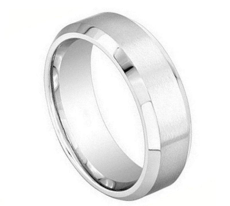 Brushed Center Shiny Beveled Edge - Pasha Fine Jewelry