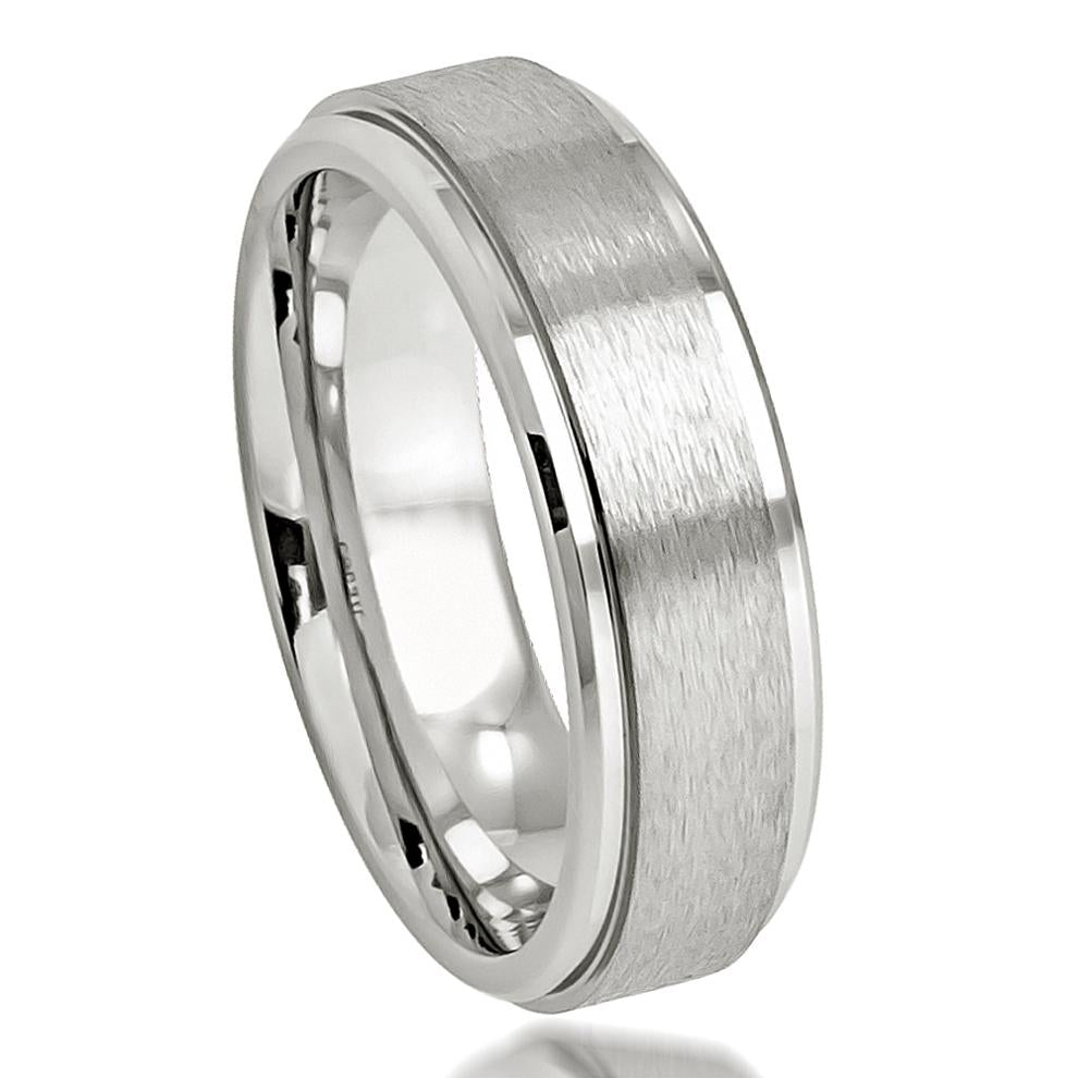 Brushed Center High Polished Stepped Edge - Pasha Fine Jewelry