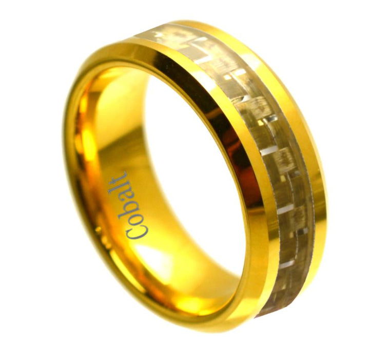 Yellow Gold Plated with Golden Carbon Fiber