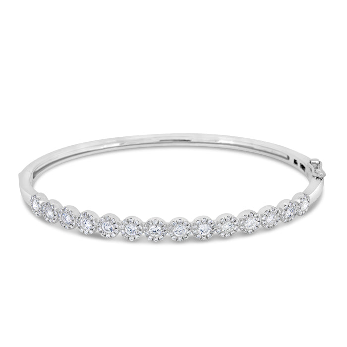Round Halo Diamond Bangle