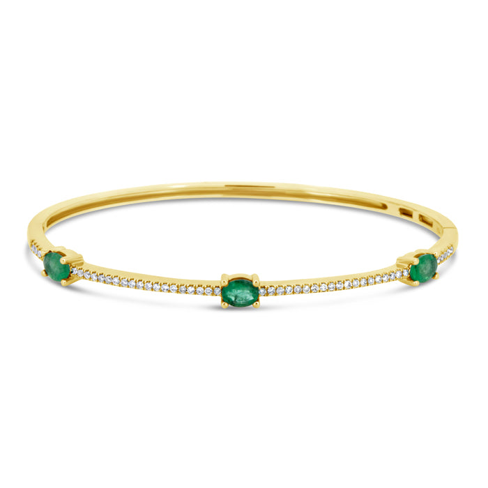 Three Stone Emerald Bangle