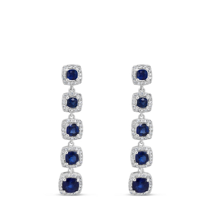 Sapphire Five Stone Drop Earrings