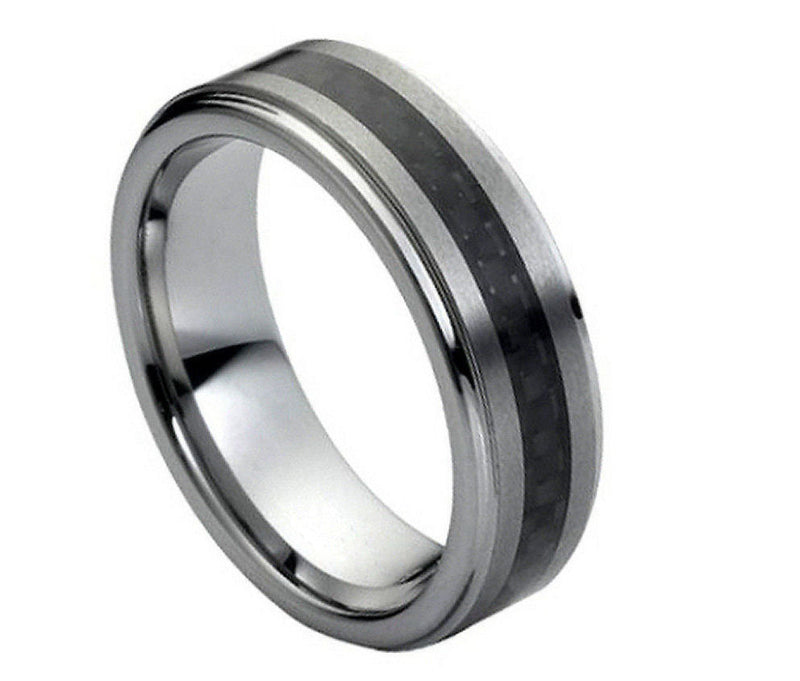 Black Carbon Fiber Inlay Brushed Center - Pasha Fine Jewelry