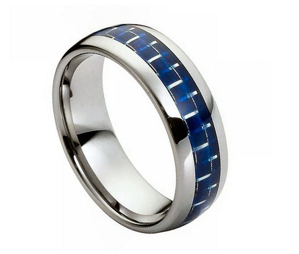 High Polish with Blue Carbon Fiber Inlay - Pasha Fine Jewelry