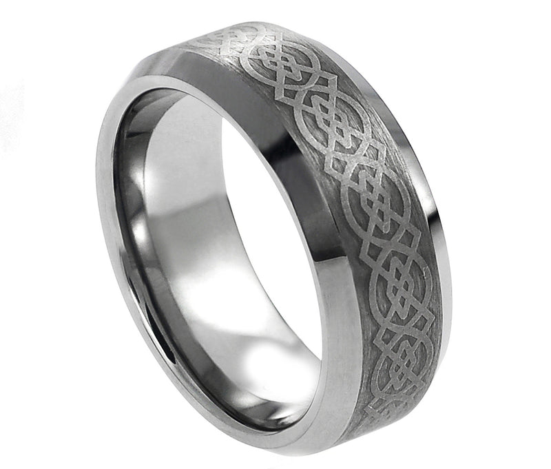 Laser Engraved Celtic Pattern - Pasha Fine Jewelry